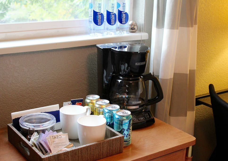 Coffee maker and all the fixings; Tea, Snacks and Bottled Water