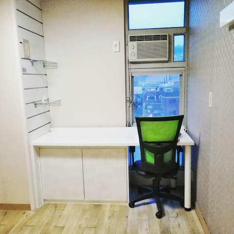 Built-in Desk Chair Glass Shelves Window Air Conditioner