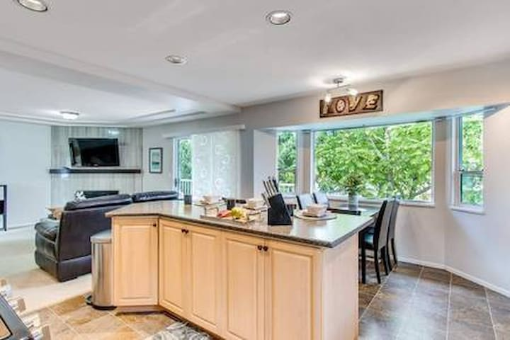 Kitchen island, guests dining area.