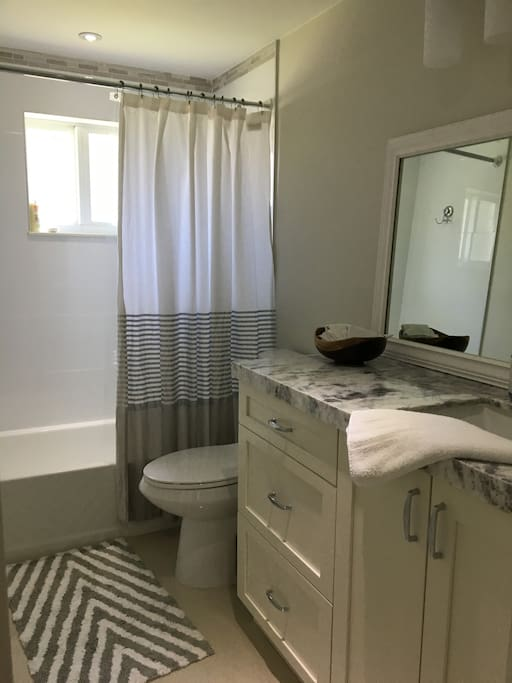 North Miami Rental On-Suite Bathroom with Marble Counters