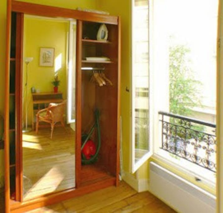 Closet and french window