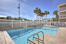 Keep up your fitness and swim some laps in the pool.