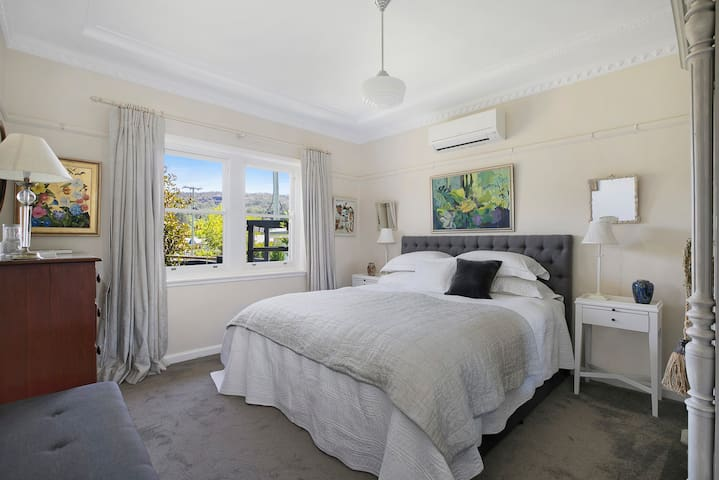 The main bedroom with king size bed and reverse cycle aircon.