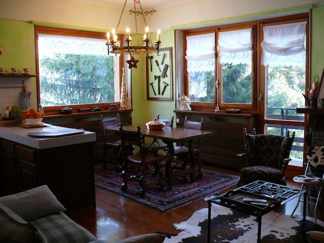vista del soggiorno con sulla sinistra la cucina, di fronte l'accesso al balcone fronte piste da sci