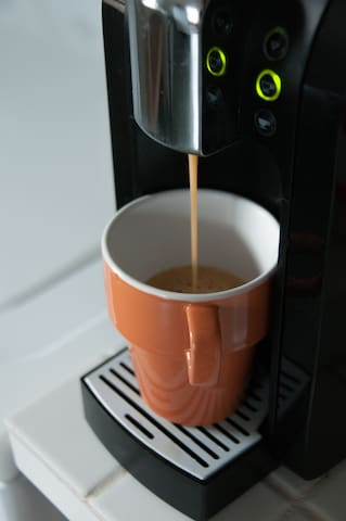 Delight in a cup of fresh brewed coffee
