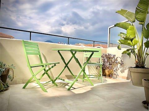 Petit Studio bourgeois sur terrasse, proche mer