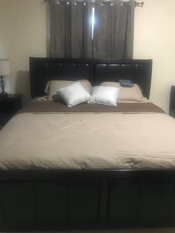 King bed with 48' smart tv  to enjoy your stay.
