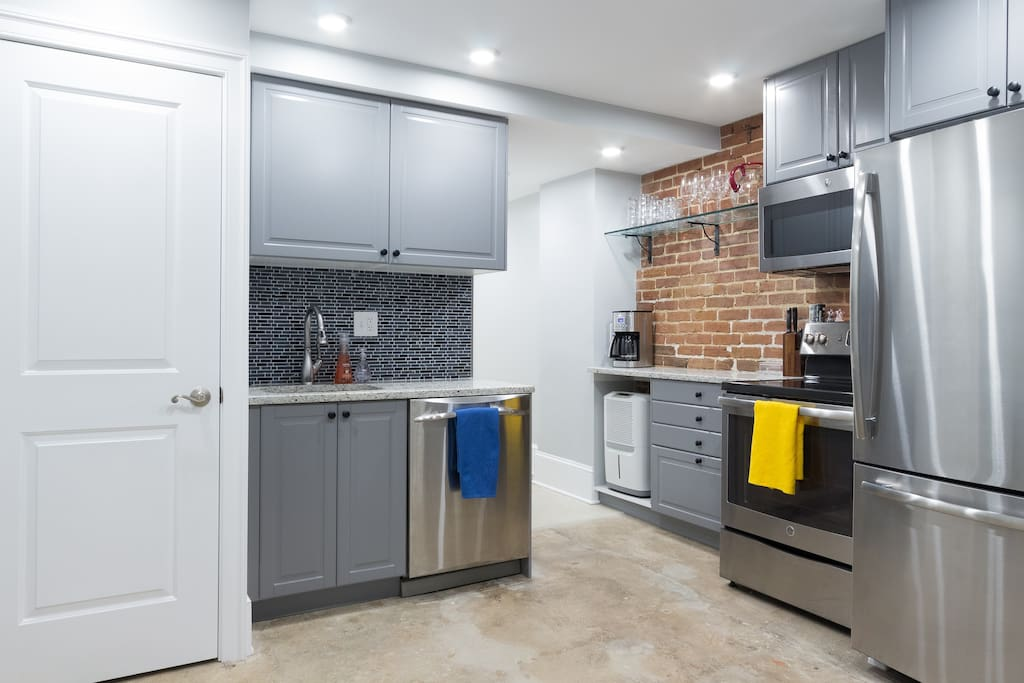 Brand new renovation with washer/dryer - 1 bedroom/1 bathroom basement unit (private separate entrance with lockbox accessible 24/7) only 2 blocks from the closest metro station (Capitol South)! Fully equipped kitchen to be able to cook and eat meals at home!