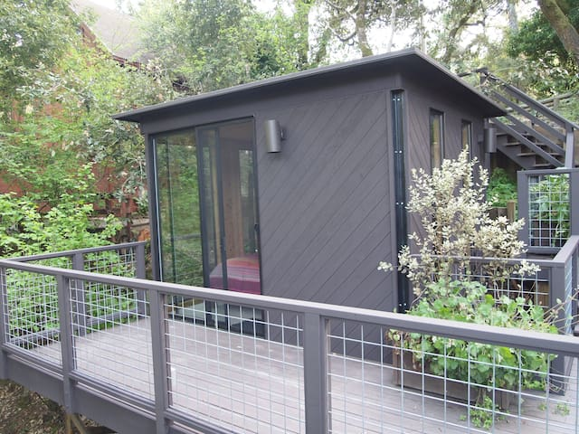 Outdoor cabin is used by owner as master bedroom