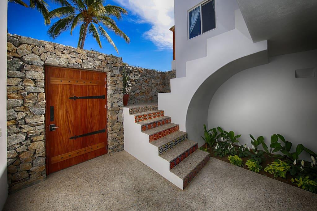 Courtyard and stairs to villa