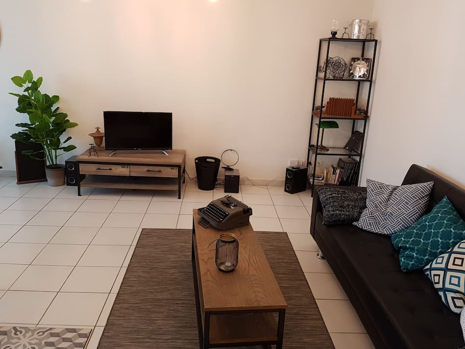 Well furnished living room with comfortable couch, coffee table, flat screen TV