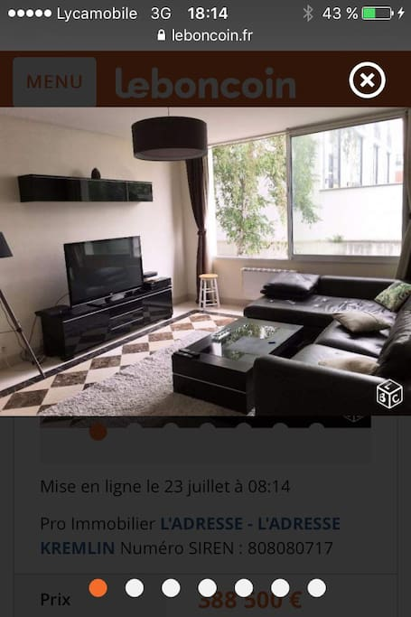Appart3 pi ces 70 m meubl gentilly appartementen te for Meuble aubaines gentilly