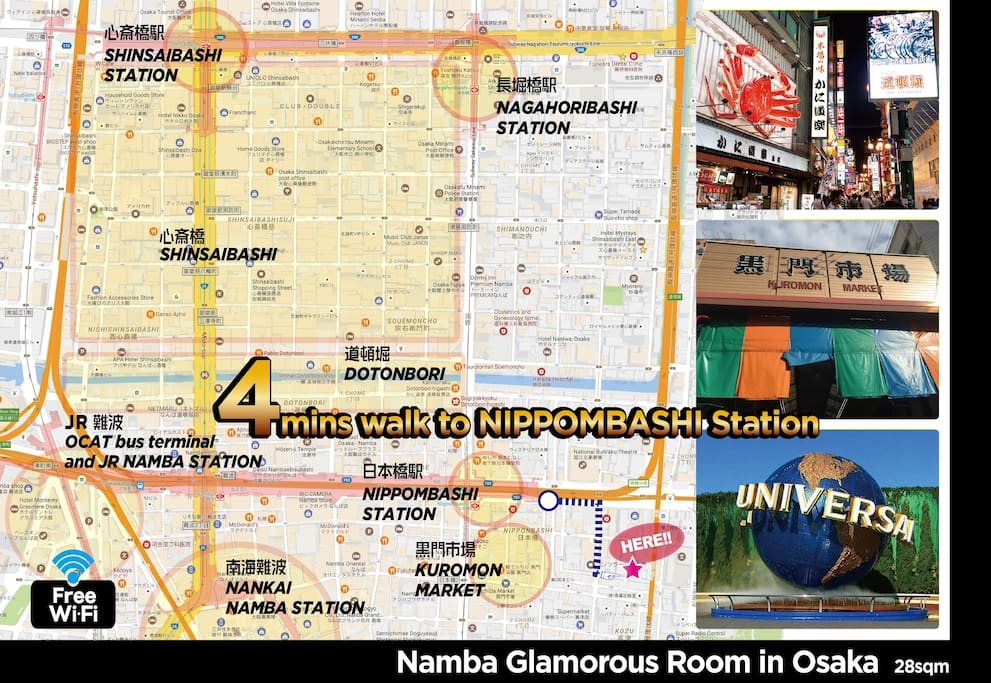 Glamorous Room 01 in Namba-Kuromon debut for 1-4people very conveniently located // we can provide you by the original video from Nippombashi station how to go to the apartment. access is super easy. // 6min on your foot to Dotonbori, 2min to Kuromon Market.