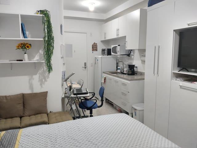 Completo e confortável apartamento no Centro de SP