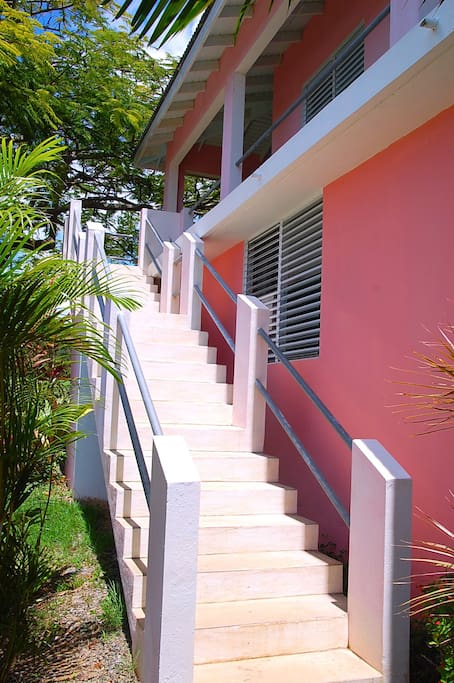 External stairs to the private entrance to the loft