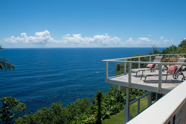 Paradise Bluff, oceanfront home on the cliffs overlooking Laupahoehoe Point - Laupahoehoe - Casa