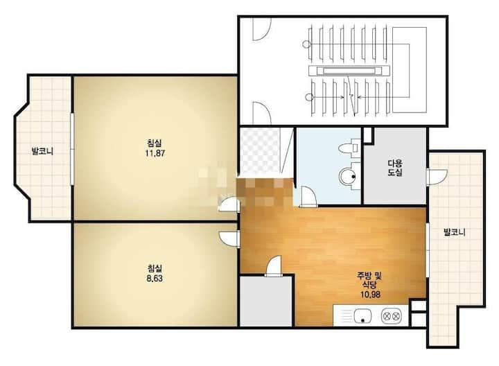 (长期住宿,检疫住宿)山附近的公寓,2间客房+厨房,便利设施附近