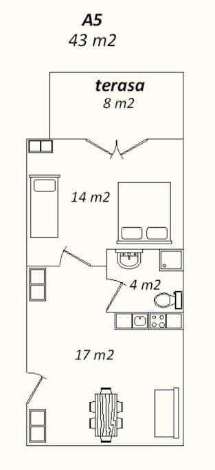 Apartman 5 tlocrt