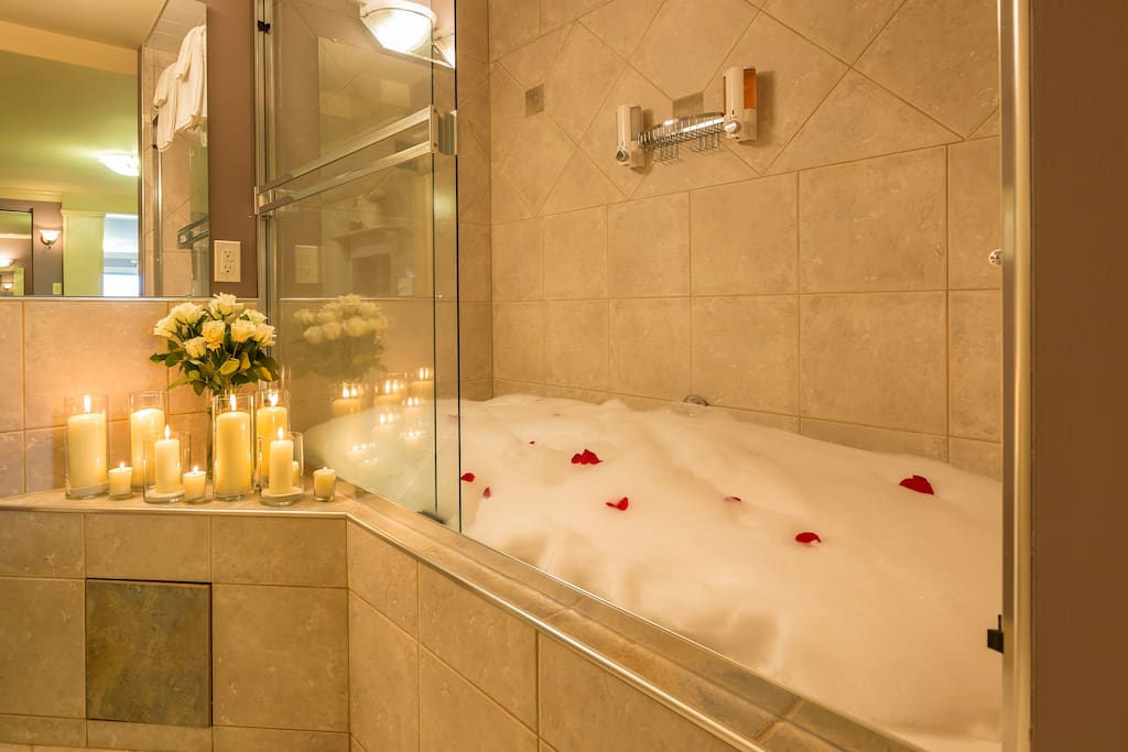 Our Imperial Suite has a double Jacuzzi soaker tub