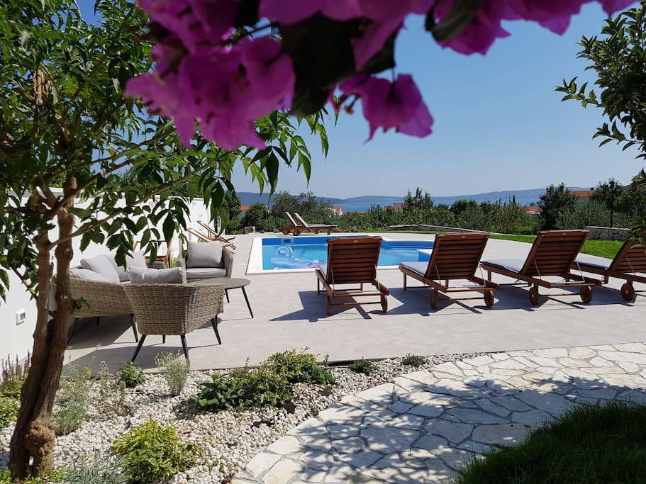 Small Mediterranean garden and pool
