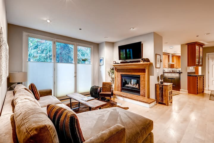 Mountain Condo + Fireplace & Private Balcony | Pool & Hot Tub On-Site!
