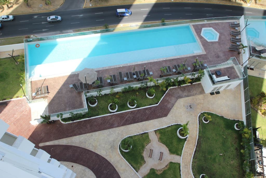 Balcony view, pool and hot tub included in rent