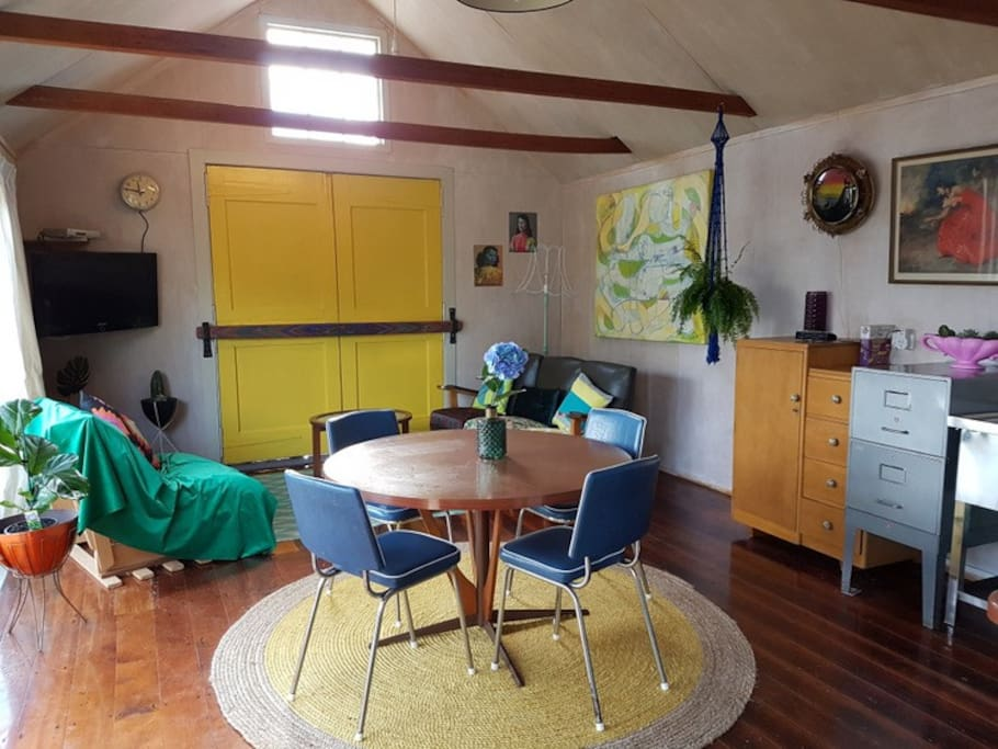 Heaps of storage space and cool 60s formica table.