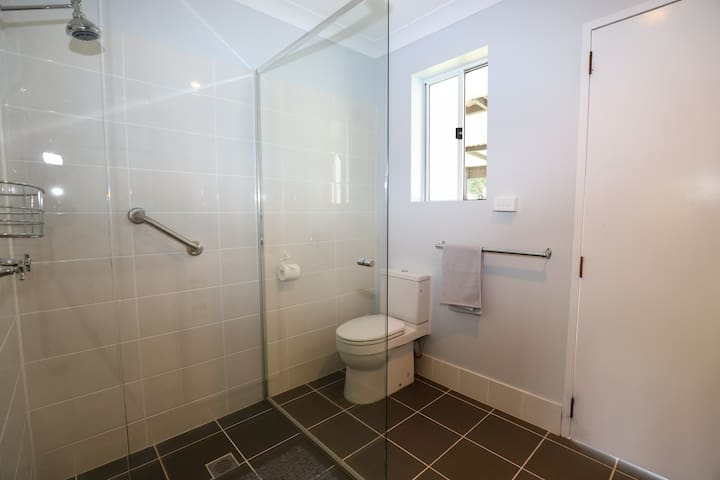 Shower, toilet and vanity