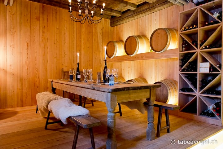 Luxury 250 yr old Swiss farm with wine cellar