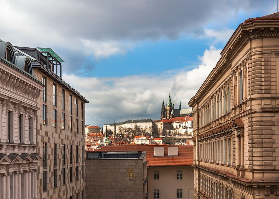 View of Prague castle and Hotel Four Seasons from kitchen & 3rd Bedroom