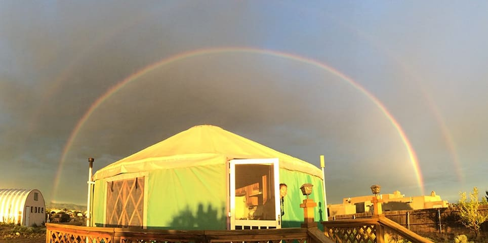 Rainbows spanning the mountains and in this case the whole yurt frequently happen during the summer monsoons.
