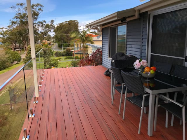 Front Deck with dining table & BBQ