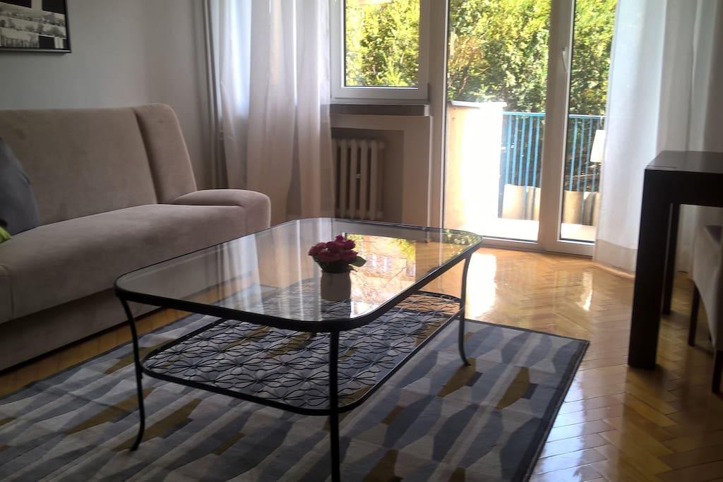 Duży pokój, dwie wygodne rozkładane kanapy, wygodny 4 osobowy stół i balkon.