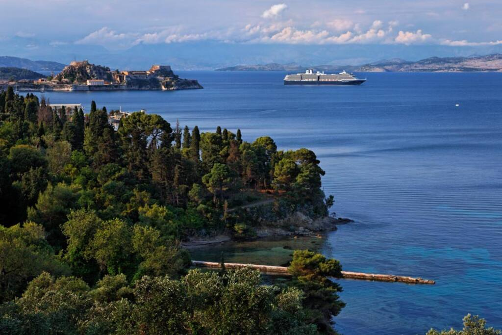 view from villa Aphrodite -the Mon Repos garden and the fortress