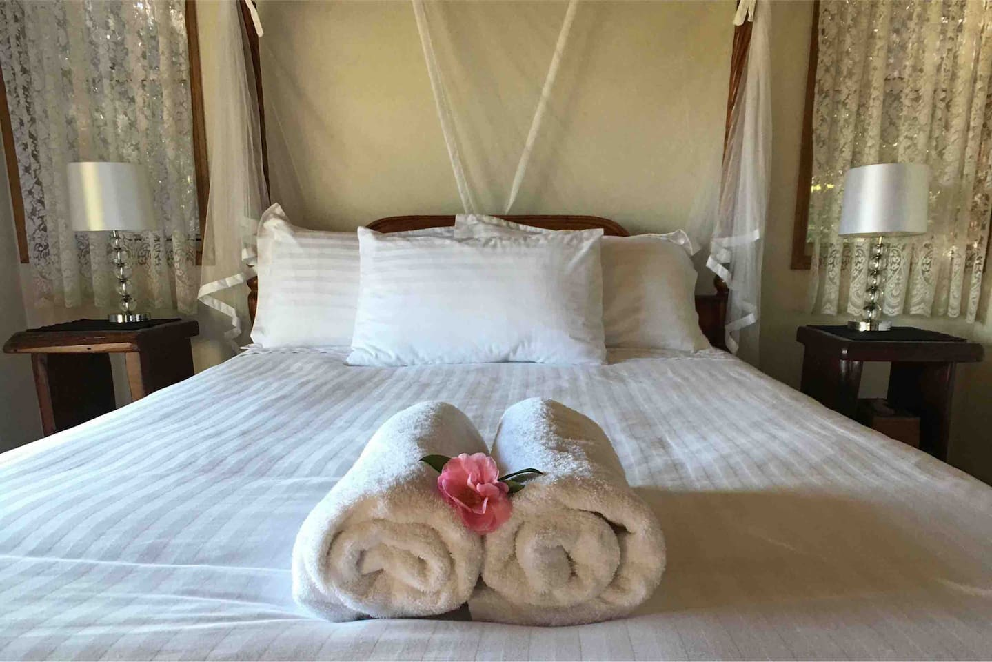 Cottage 2 - all cottages have luxurious four poster beds. We are in Mapleton, Sunshine Coast Hinterland, part of the Blackall Range and close to the towns of Montville, Maleny, Eumundi, Yandina, Kenilworth,  Noosa and the Glass House Mountains.