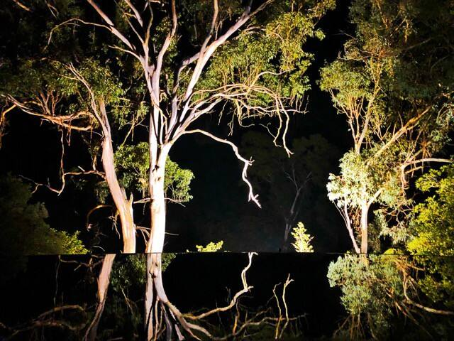 The reflection over the pool at night.