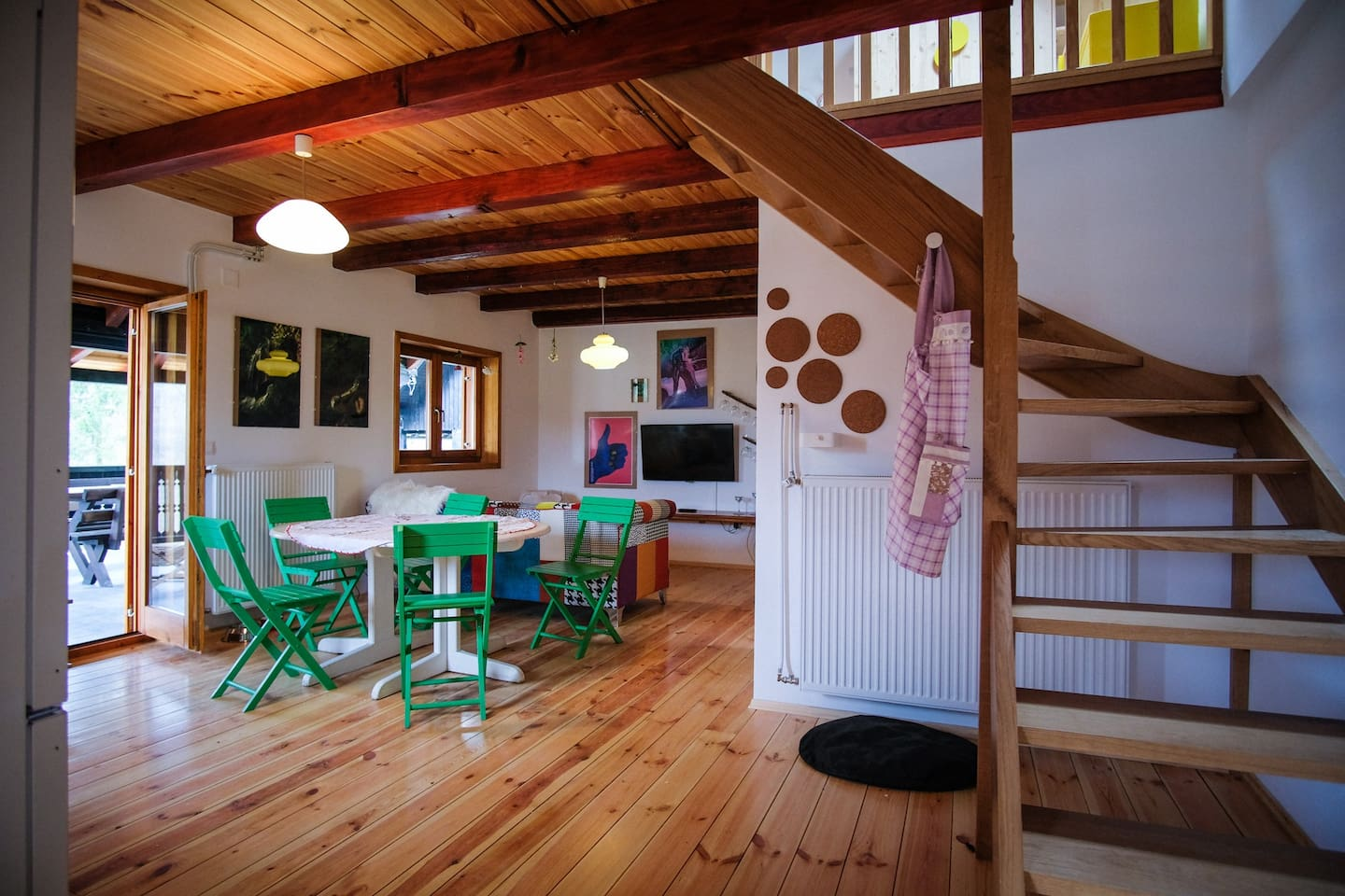 The Main Dinning & Living Area - table for 6 (the table can also grow bigger), exit to a huge terrace with a beautiful view to Zagorje´s hills and meadows, smart TV (Wi-Fi of course) so you can enjoy the music and all your favorite movies.