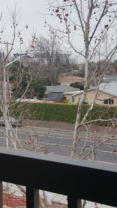 View of stadium from balcony.  20 min walk to stadium