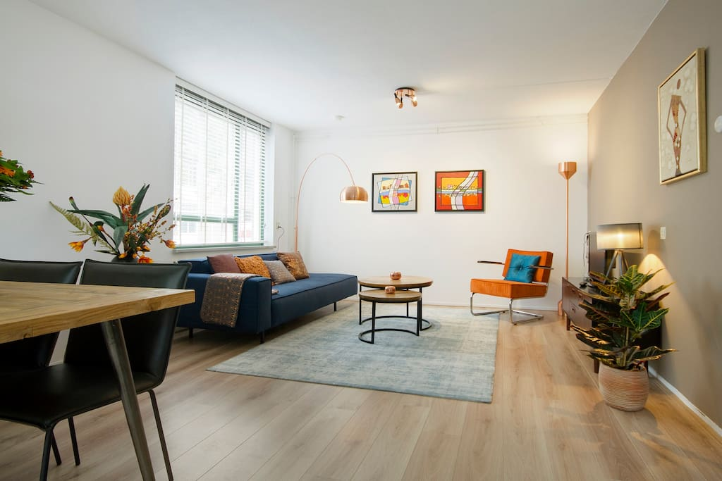 Spacious living room with dining area