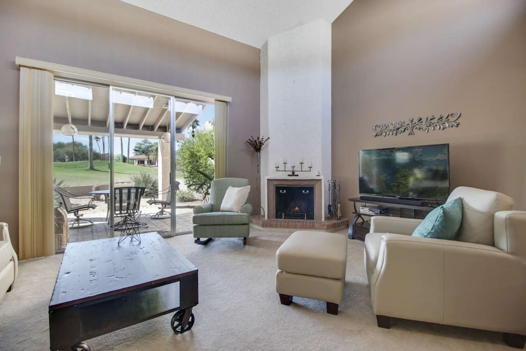 What spectacular views from the living room of the golf course. Relax and put your feet up after a long day!