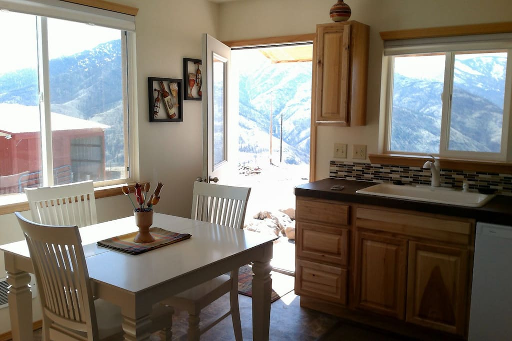 Your kitchen and view of  Billy Goat Mountain.