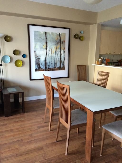 The dining area sits 6 easily and will extend to 8. This is an open-concept living area.