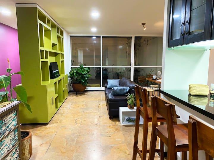 Stylish apartment with peaceful backyard garden