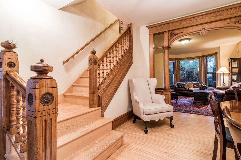 There is a spacious dining room and living room on the first level of the house.
