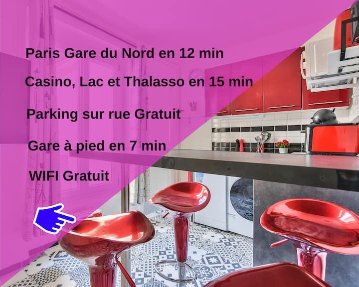 Paris Gare du Nord en 10mn - Le Calme & Confort - Le Cerisier 4P