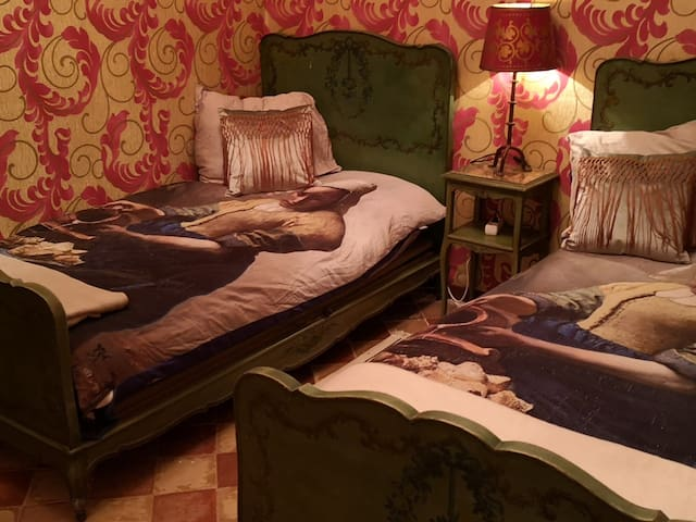 The art room with 2 large single beds