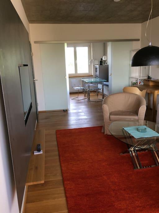 Wohnzimmer mit Wohnküche im Hintergrund