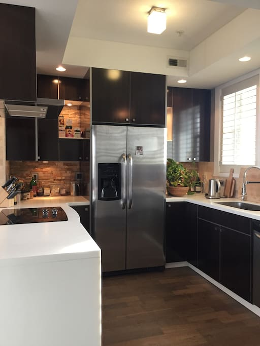 Open kitchen with All Clad cookware, electronic kettle, aeropress coffee maker and views of downtown.