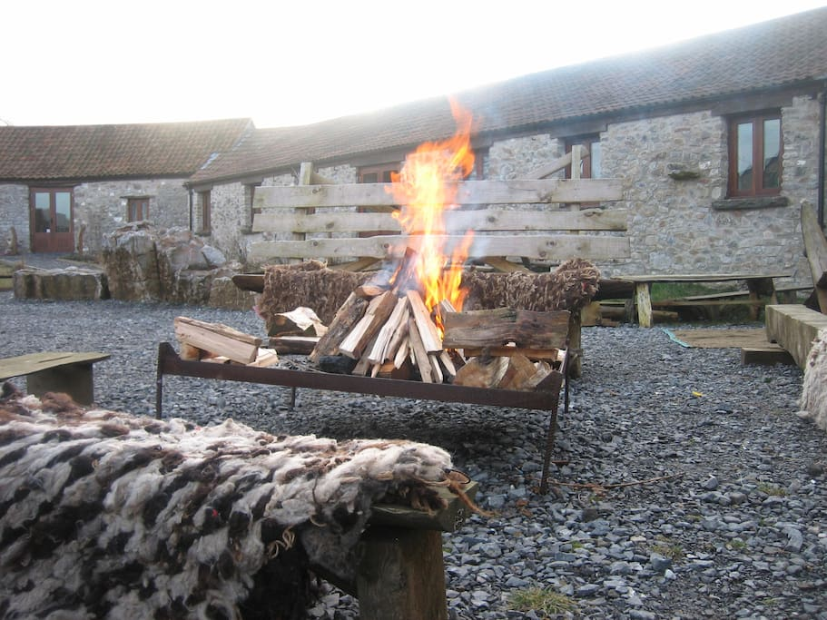 Camping barns with fire pit