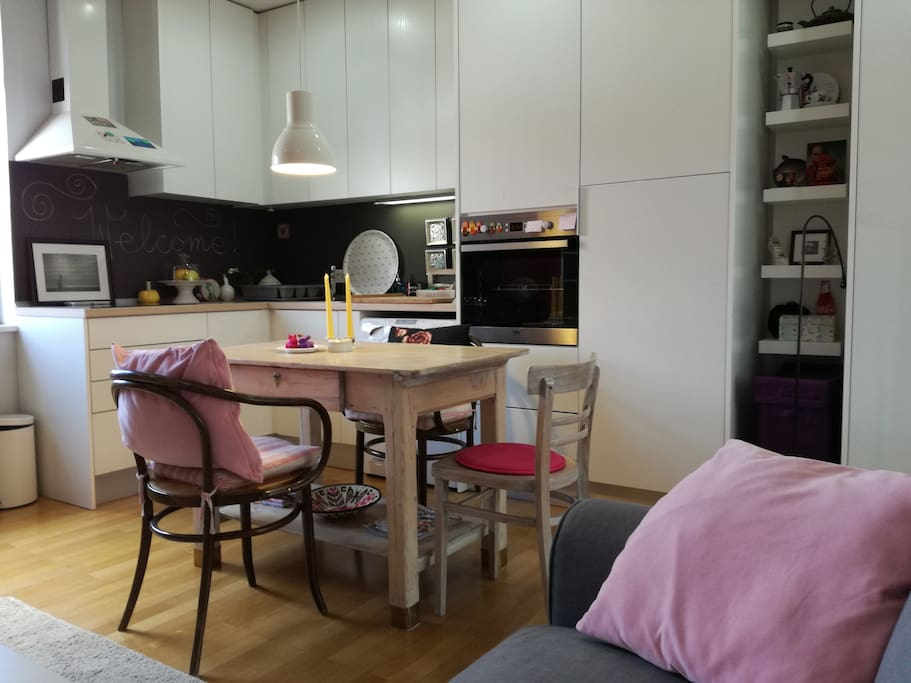 The kitchen and the dining area